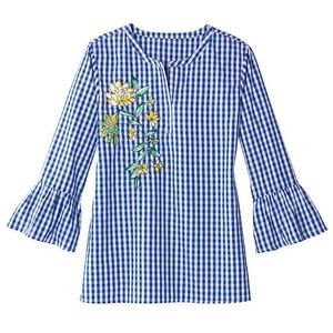 Embroidered Blue Gingham Bell Sleeve Top